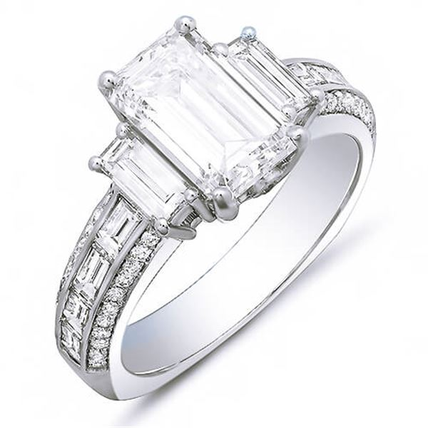 Natural 2.92 CTW Emerald Cut & Baguettes Diamond Engagement Ring 14KT White Gold