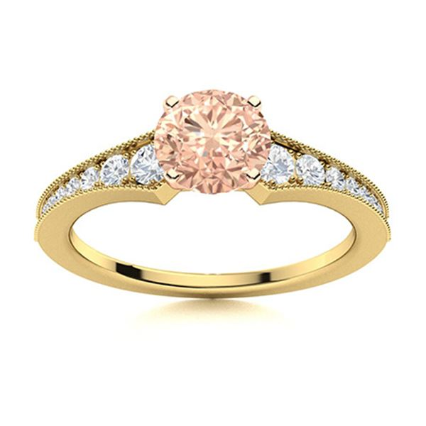 Natural 1.66 CTW Morganite & Diamond Engagement Ring 18K Yellow Gold