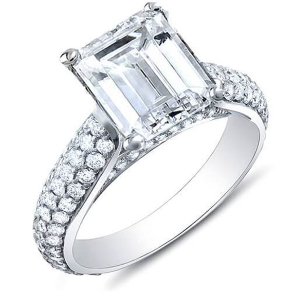 Natural 2.92 CTW Emerald Cut w/ Round Cut Micro Pave Diamond Engagement Ring 14KT White Gold