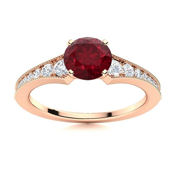 Natural 1.06 CTW Ruby & Diamond Engagement Ring 18K Rose Gold