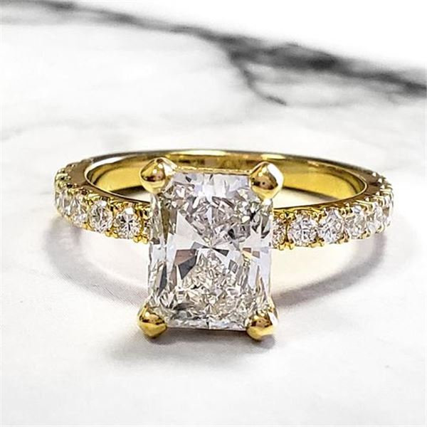 Natural 1.72 CTW Radiant Cut Diamond Engagement Ring 18KT Yellow Gold