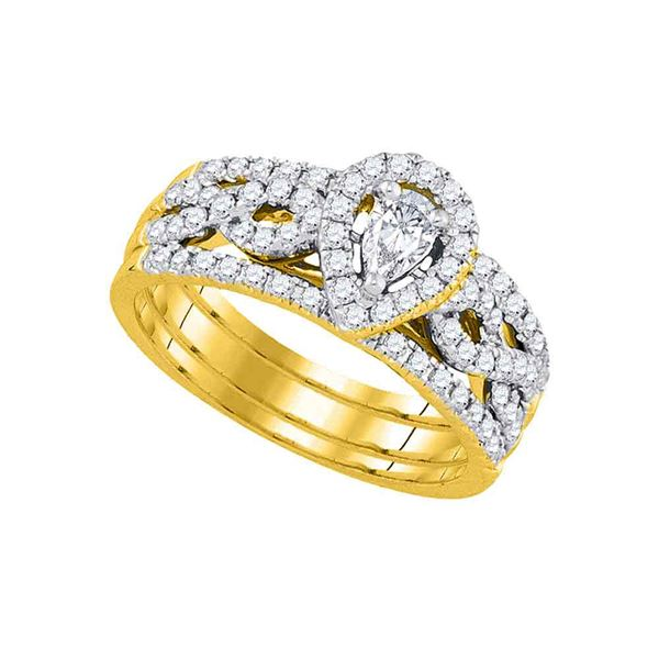 14kt Yellow Gold Pear Diamond 3-Piece Bridal Wedding Ring Band Set 7/8 Cttw