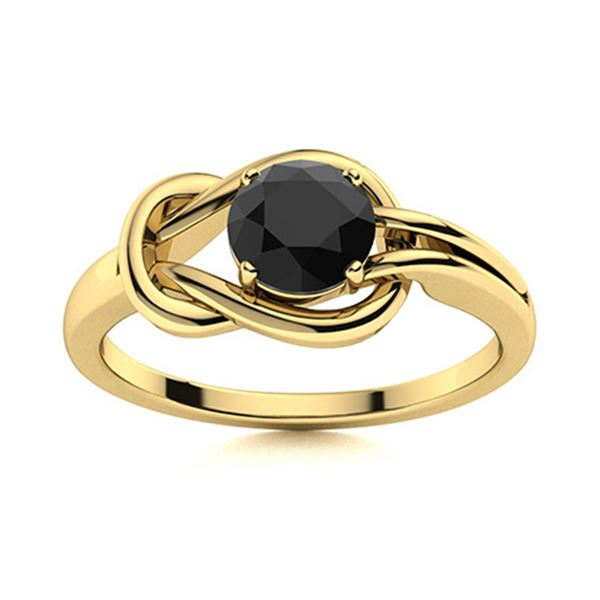 Natural 0.61 CTW Black Diamond Solitaire Ring 14K Yellow Gold