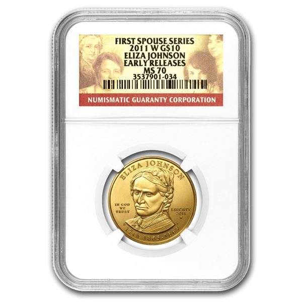 2011-W 1/2 oz Gold Eliza Johnson MS-70 NGC
