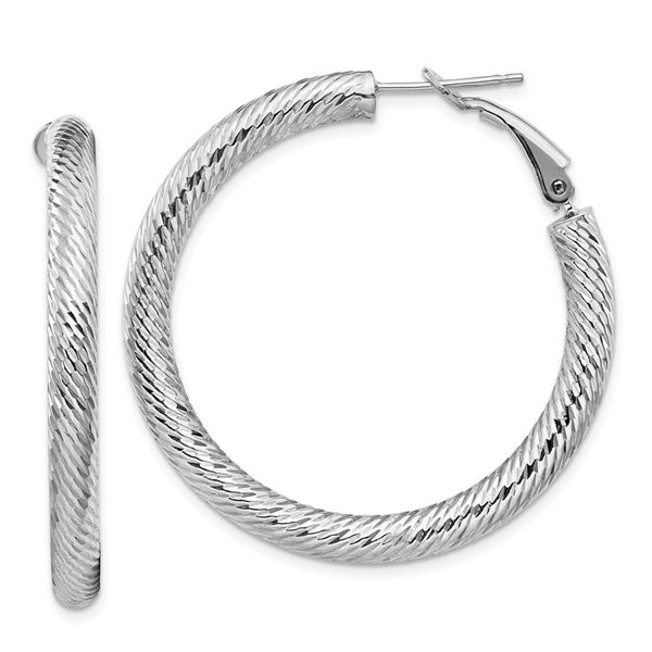 14k White Gold Diamond-cut Omega Back Hoop Earrings - 4x30 mm