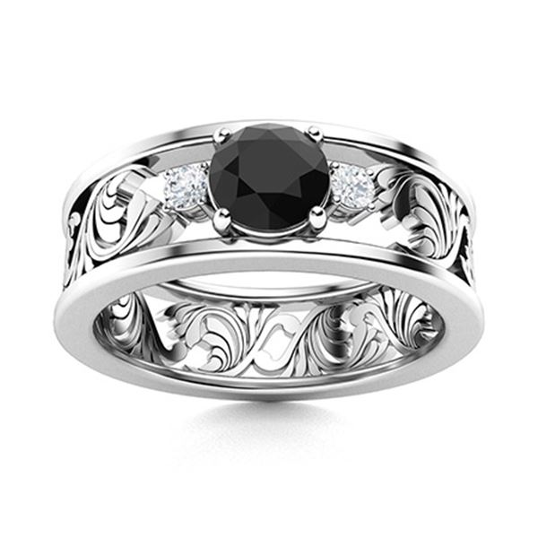 Natural 0.47 CTW Onyx & Diamond Engagement Ring 14K White Gold