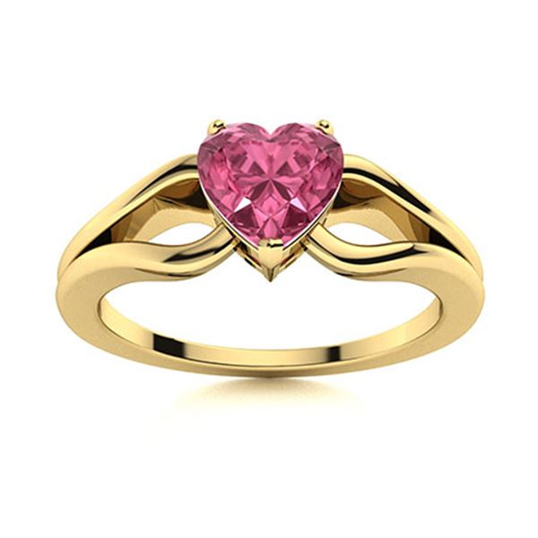 Natural 0.50 CTW Tourmaline Solitaire Ring 14K Yellow Gold