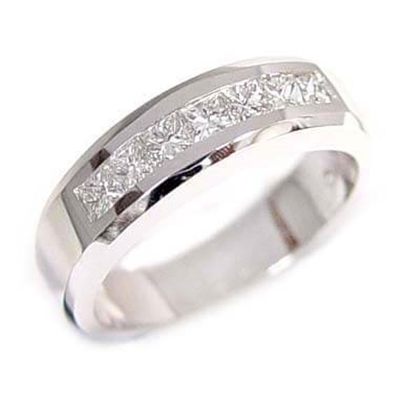 Natural 0.87 CTW Men's Diamond Ring 14KT White Gold