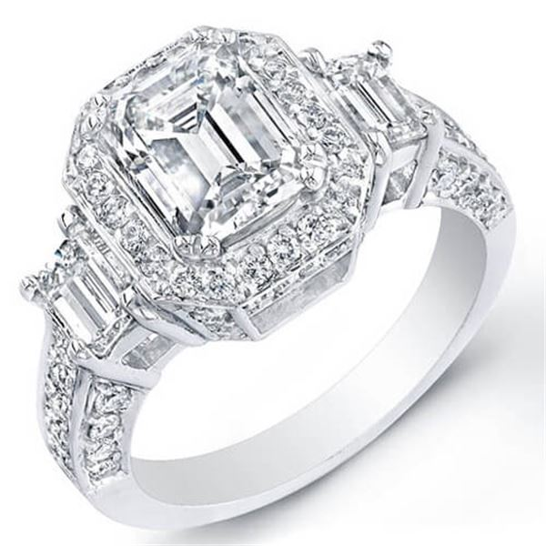 Natural 4.47 CTW Emerald Cut 3-Stone Halo Diamond Ring 14KT White Gold