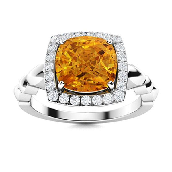 Natural 2.49 CTW Citrine & Diamond Engagement Ring 18K White Gold