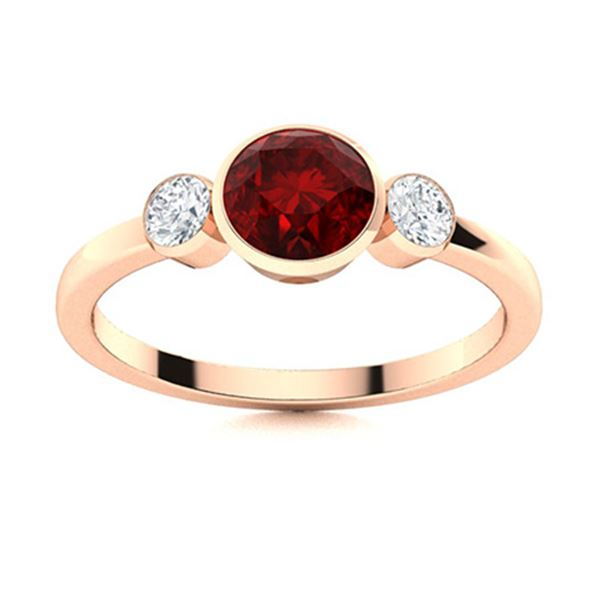 Natural 0.82 CTW Garnet & Diamond Engagement Ring 18K Rose Gold