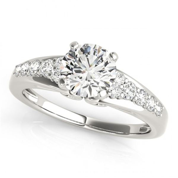 Natural 0.9 ctw Diamond Solitaire Ring 14k White Gold