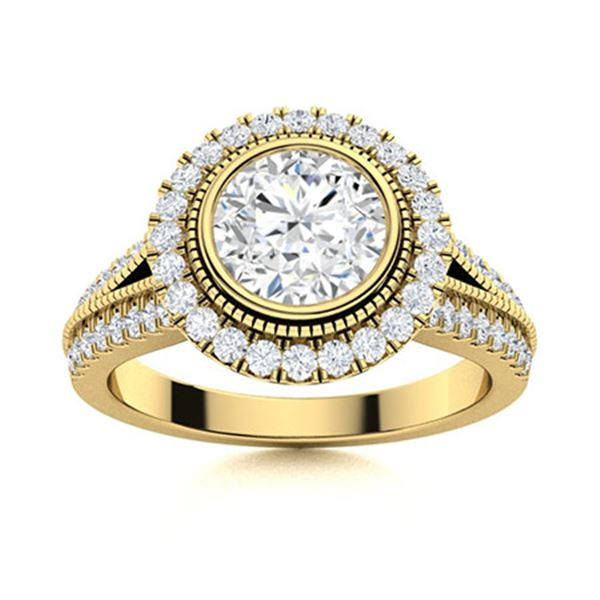 Natural 1.74 CTW Diamond Solitaire Ring 14K Yellow Gold