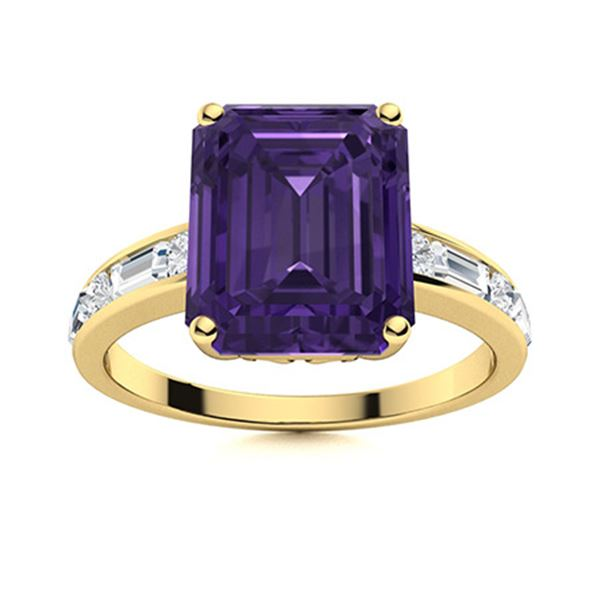 Natural 4.14 CTW Amethyst & Diamond Engagement Ring 18K Yellow Gold