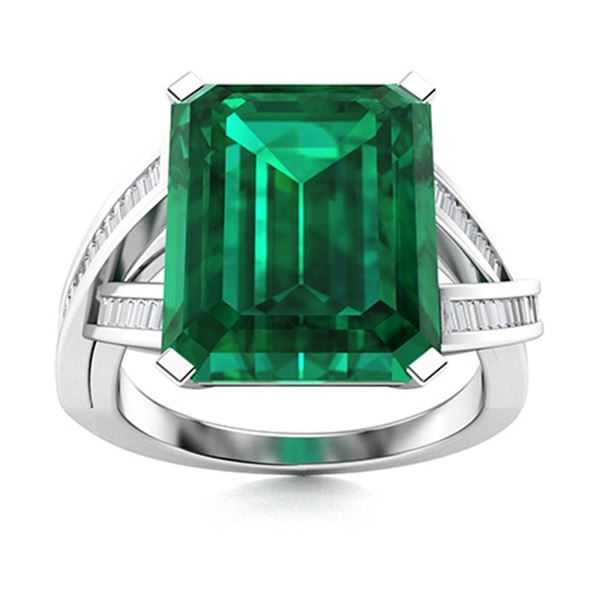 Natural 4.72 CTW Emerald & Diamond Engagement Ring 18K White Gold