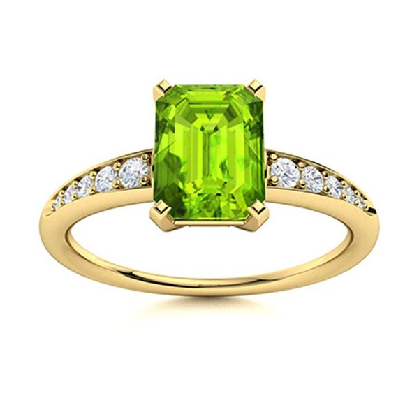 Natural 1.08 CTW Peridot & Diamond Engagement Ring 14K Yellow Gold