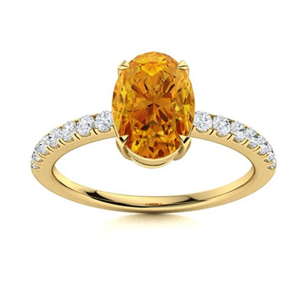Natural 2.38 CTW Citrine & Diamond Engagement Ring 18K Yellow Gold