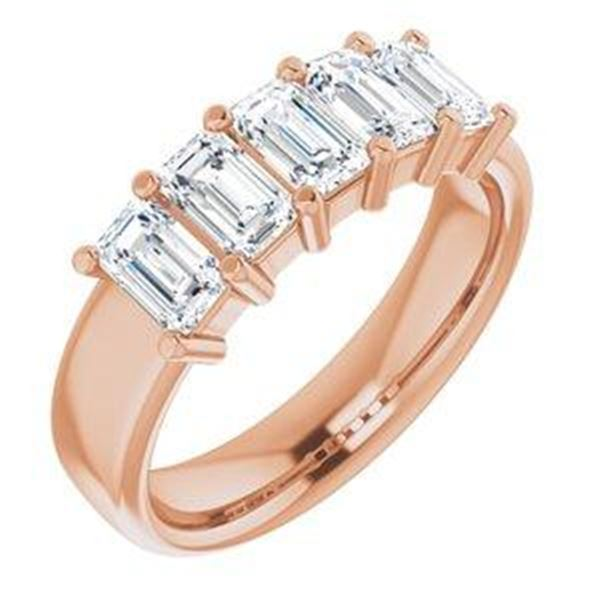 Natural 2.52 CTW Emerald Cut 5-Stone Diamond Ring 18KT Rose Gold