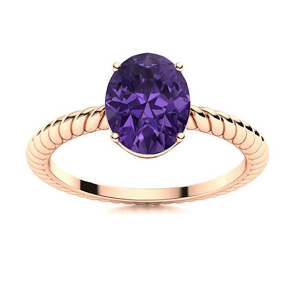 Natural 2.13 CTW Amethyst Solitaire Ring 18K Rose Gold