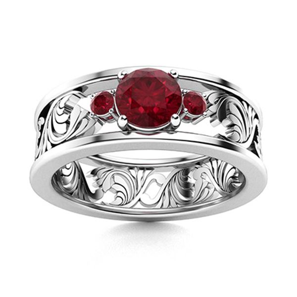Natural 0.64 CTW Ruby & Diamond Engagement Ring 14K White Gold