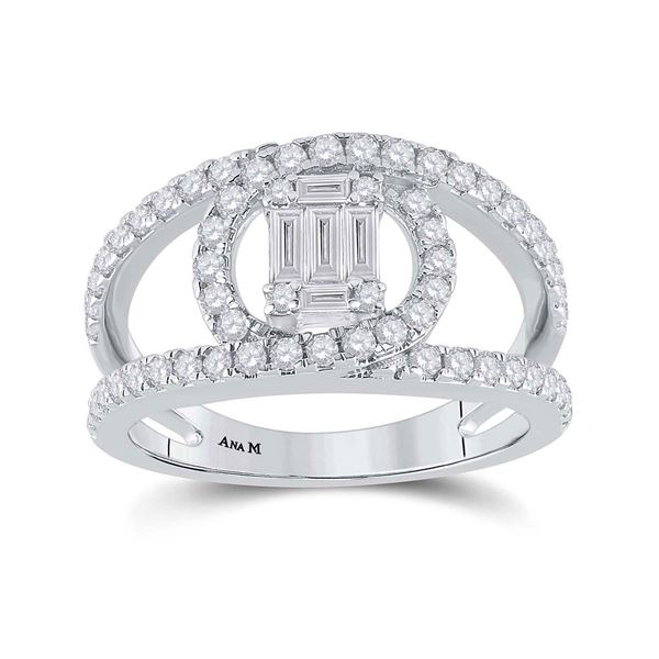 14kt White Gold Womens Baguette Diamond Negative Space Cluster Ring 1 Cttw