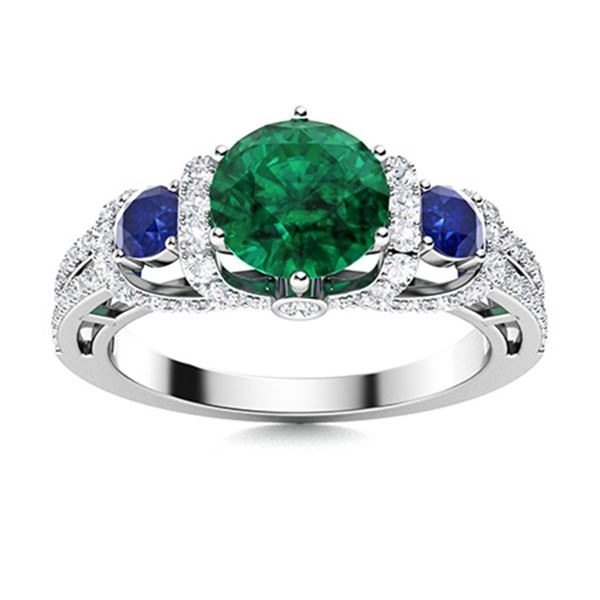 Natural 1.87 CTW Emerald, Sapphire & Diamond Engagement Ring 18K White Gold