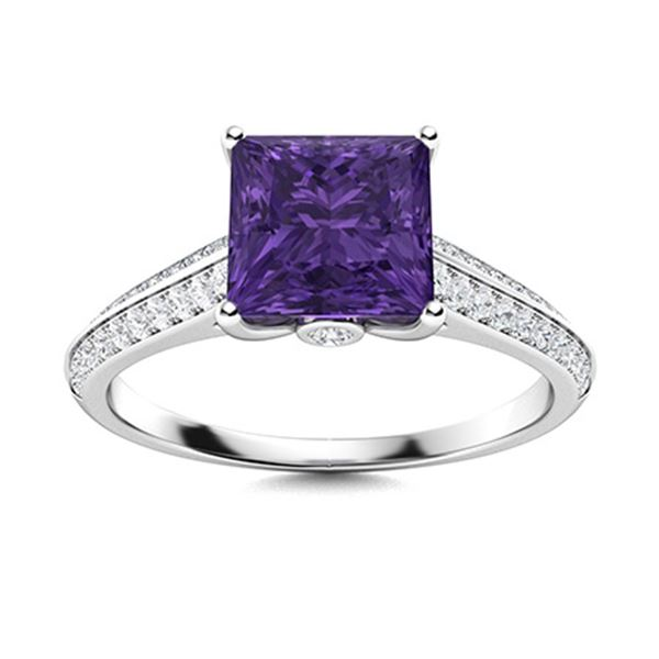Natural 0.98 CTW Amethyst & Diamond Engagement Ring 14K White Gold