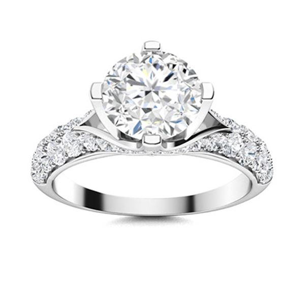Natural 2.08 CTW Diamond Solitaire Ring 14K White Gold