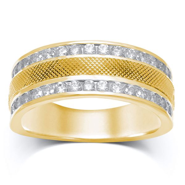 14kt Yellow Gold Mens Round Diamond Double Row Textured Wedding Band Ring 1 Cttw
