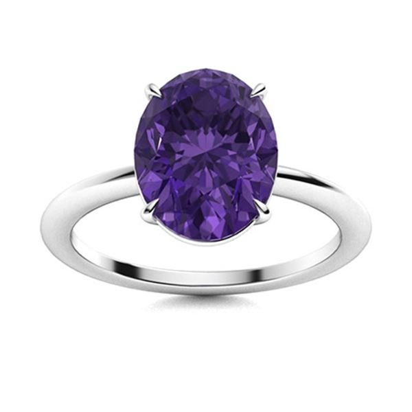 Natural 3.98 CTW Amethyst Solitaire Ring 18K White Gold