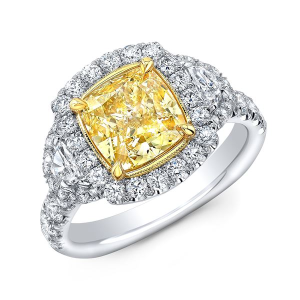 Natural 4.12 CTW Canary Yellow Halo Cushion Cut Diamond Ring 18KT Two-tone