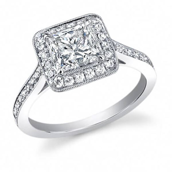 Natural 2.32 CTW Halo Princess Cut Diamond Engagement Ring 18KT White Gold