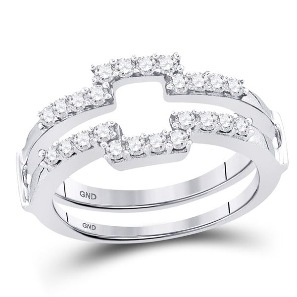 14kt White Gold Womens Round Diamond Square Solitaire Enhancer Wedding Band 1/2 Cttw