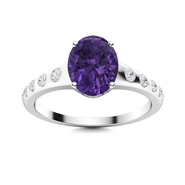 Natural 2.29 CTW Amethyst & Diamond Engagement Ring 18K White Gold