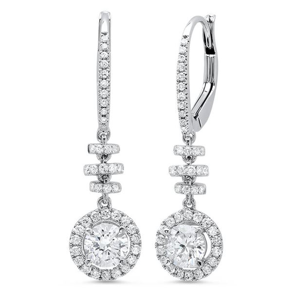 Natural 0.96 CTW Dangling U-Pave Lever Back Halo Round Cut Diamond Earrings 18KT White Gold