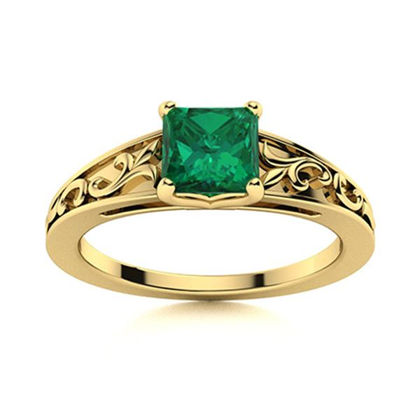 Natural 0.61 CTW Emerald Solitaire Ring 14K Yellow Gold