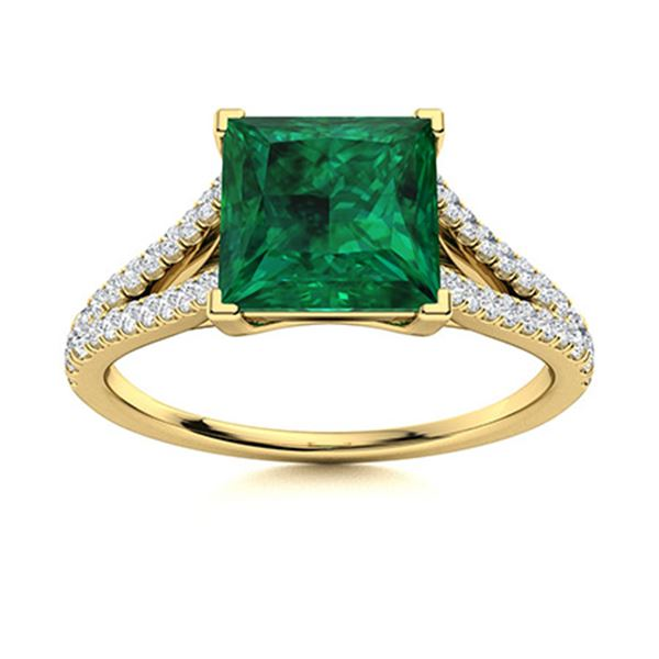 Natural 1.41 CTW Emerald & Diamond Engagement Ring 14K Yellow Gold