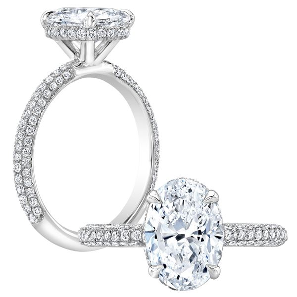 Natural 1.67 CTW Oval Cut Pave Under-Halo Diamond Engagement Ring 18KT White Gold