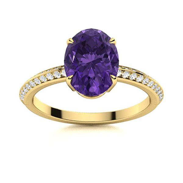 Natural 1.80 CTW Amethyst & Diamond Engagement Ring 18K Yellow Gold