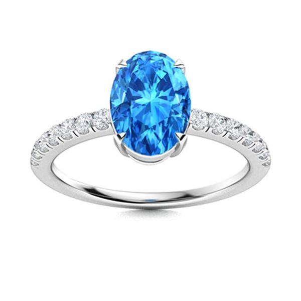 Natural 1.67 CTW Topaz & Diamond Engagement Ring 14K White Gold