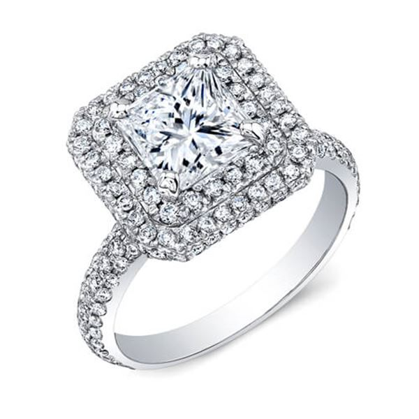 Natural 2.42 CTW Double Halo Princess Cut Diamond Engagement Ring 18KT White Gold