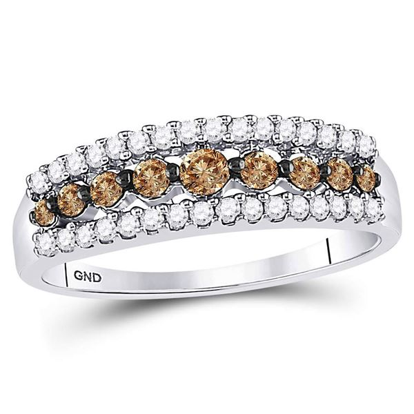 14kt White Gold Womens Round Brown Diamond Band Ring 1/2 Cttw