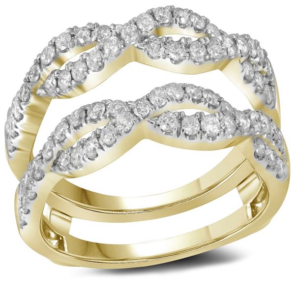 14kt Yellow Gold Womens Round Diamond Solitaire Enhancer Wedding Band 3/4 Cttw