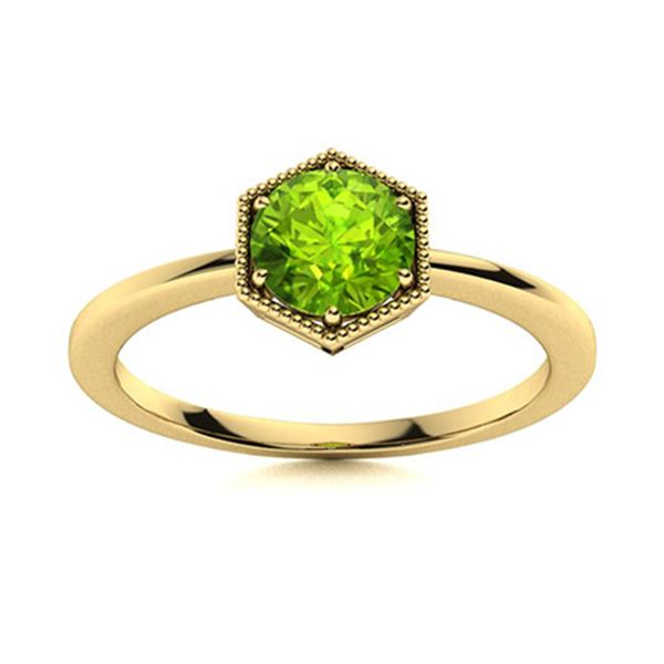 Natural 0.61 CTW Peridot Solitaire Ring 14K Yellow Gold