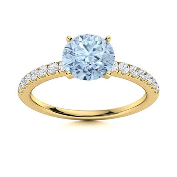 Natural 0.96 CTW Aquamarine & Diamond  Engagement Ring 14K Yellow Gold