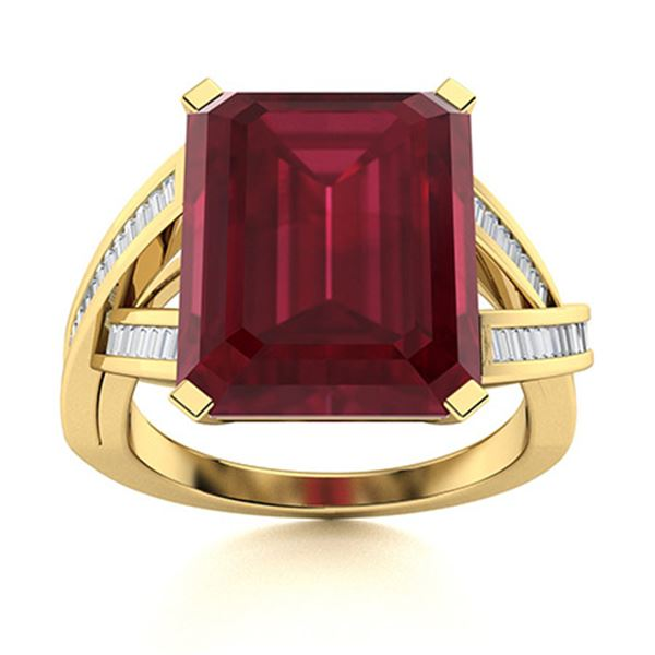 Natural 6.71 CTW Ruby & Diamond Engagement Ring 14K Yellow Gold