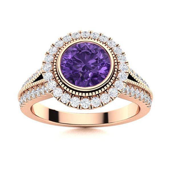 Natural 1.79 CTW Amethyst & Diamond Engagement Ring 18K Rose Gold