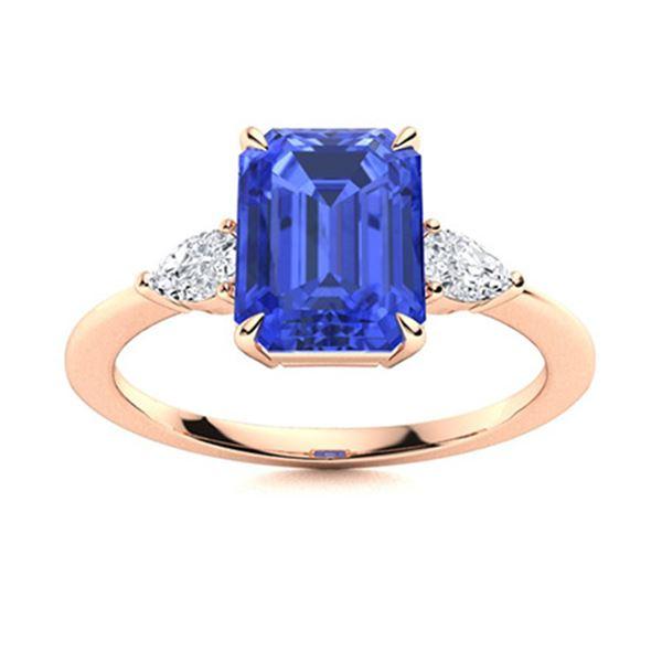 Natural 2.58 CTW Ceylon Sapphire & Diamond Engagement Ring 18K Rose Gold