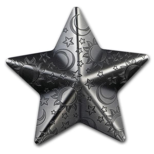 2018 Palau 1 oz Silver Antique Finish Silver Twinkling Star