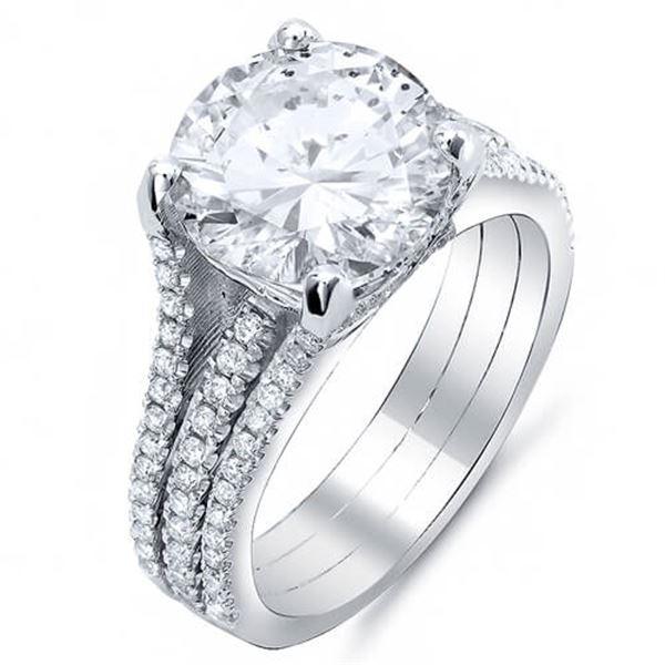 Natural 5.22 CTW Split Shank Round Cut Diamond Engagement Ring 18KT White Gold